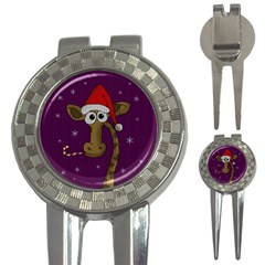 Christmas Giraffe  3 In 1 Golf Divots