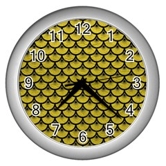Scales3 Black Marble & Yellow Leather Wall Clocks (silver)