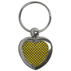 Scales3 Black Marble & Yellow Leather Key Chains (heart)