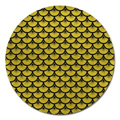 Scales3 Black Marble & Yellow Leather Magnet 5  (round)