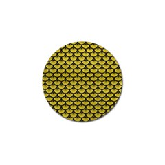 Scales3 Black Marble & Yellow Leather Golf Ball Marker (4 Pack)