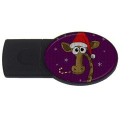 Christmas Giraffe  Usb Flash Drive Oval (2 Gb)