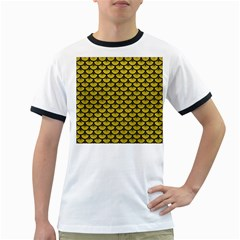 Scales3 Black Marble & Yellow Leather Ringer T Shirts