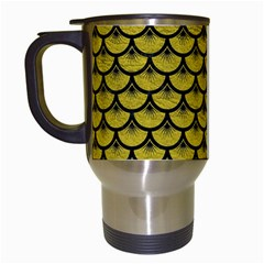 Scales3 Black Marble & Yellow Leather Travel Mugs (white)