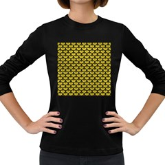 Scales3 Black Marble & Yellow Leather Women s Long Sleeve Dark T Shirts