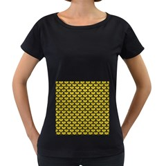 Scales3 Black Marble & Yellow Leather Women s Loose Fit T Shirt (black)