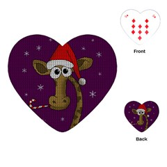 Christmas Giraffe  Playing Cards (heart)