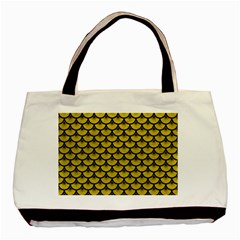 Scales3 Black Marble & Yellow Leather Basic Tote Bag