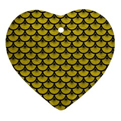 Scales3 Black Marble & Yellow Leather Heart Ornament (two Sides)