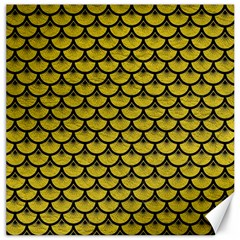 Scales3 Black Marble & Yellow Leather Canvas 12  X 12