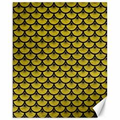 Scales3 Black Marble & Yellow Leather Canvas 16  X 20