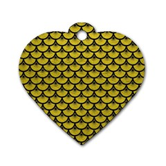 Scales3 Black Marble & Yellow Leather Dog Tag Heart (two Sides)