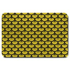 Scales3 Black Marble & Yellow Leather Large Doormat
