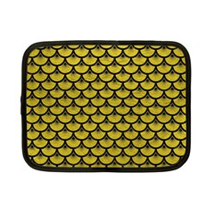 Scales3 Black Marble & Yellow Leather Netbook Case (small)