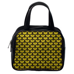 Scales3 Black Marble & Yellow Leather Classic Handbags (one Side)