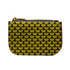 Scales3 Black Marble & Yellow Leather Mini Coin Purses