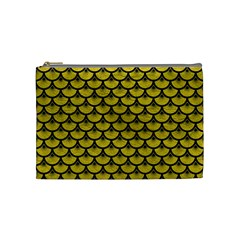 Scales3 Black Marble & Yellow Leather Cosmetic Bag (medium)