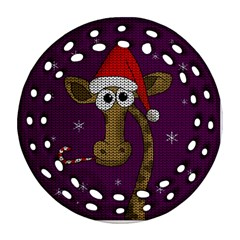 Christmas Giraffe  Round Filigree Ornament (two Sides)