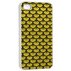 Scales3 Black Marble & Yellow Leather Apple Iphone 4/4s Seamless Case (white)