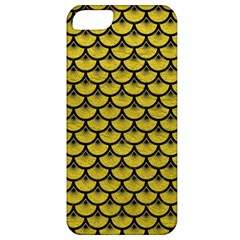 Scales3 Black Marble & Yellow Leather Apple Iphone 5 Classic Hardshell Case