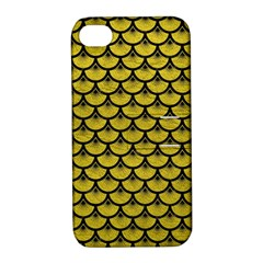 Scales3 Black Marble & Yellow Leather Apple Iphone 4/4s Hardshell Case With Stand