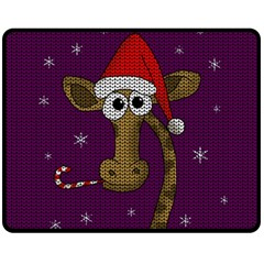 Christmas Giraffe  Double Sided Fleece Blanket (medium)