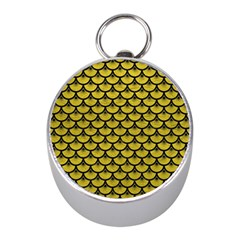 Scales3 Black Marble & Yellow Leather Mini Silver Compasses