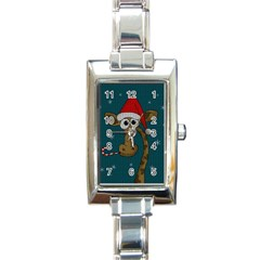 Christmas Giraffe  Rectangle Italian Charm Watch