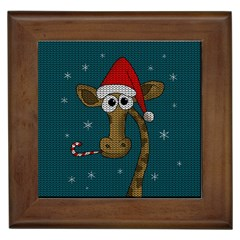 Christmas Giraffe  Framed Tiles