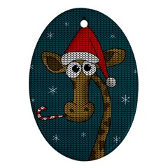 Christmas Giraffe  Ornament (oval)