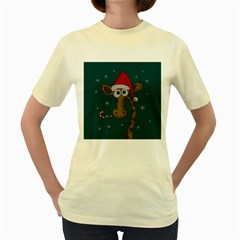 Christmas Giraffe  Women s Yellow T Shirt