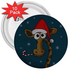Christmas Giraffe  3  Buttons (10 Pack)