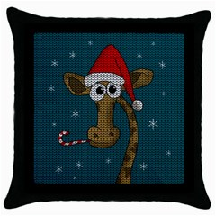 Christmas Giraffe  Throw Pillow Case (black)
