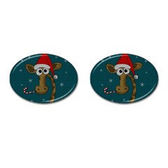 Christmas Giraffe  Cufflinks (oval)