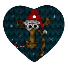 Christmas Giraffe  Heart Ornament (two Sides)