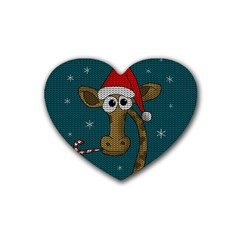 Christmas Giraffe  Rubber Coaster (heart)