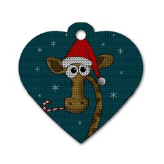 Christmas Giraffe  Dog Tag Heart (two Sides)