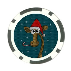 Christmas Giraffe  Poker Chip Card Guard