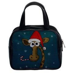 Christmas Giraffe  Classic Handbags (2 Sides)