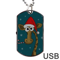 Christmas Giraffe  Dog Tag Usb Flash (two Sides)