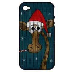 Christmas Giraffe  Apple Iphone 4/4s Hardshell Case (pc+silicone)