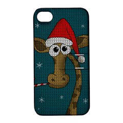 Christmas Giraffe  Apple Iphone 4/4s Hardshell Case With Stand