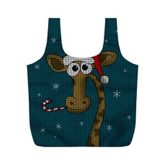 Christmas Giraffe  Full Print Recycle Bags (m)