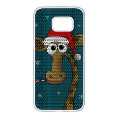 Christmas Giraffe  Samsung Galaxy S7 Edge White Seamless Case