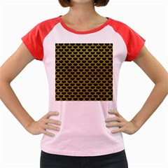 Scales3 Black Marble & Yellow Leather (r) Women s Cap Sleeve T Shirt