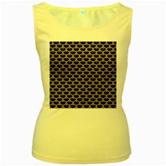 Scales3 Black Marble & Yellow Leather (r) Women s Yellow Tank Top