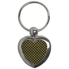 Scales3 Black Marble & Yellow Leather (r) Key Chains (heart)