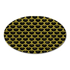 Scales3 Black Marble & Yellow Leather (r) Oval Magnet