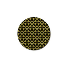 Scales3 Black Marble & Yellow Leather (r) Golf Ball Marker (10 Pack)