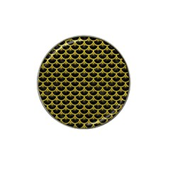 Scales3 Black Marble & Yellow Leather (r) Hat Clip Ball Marker